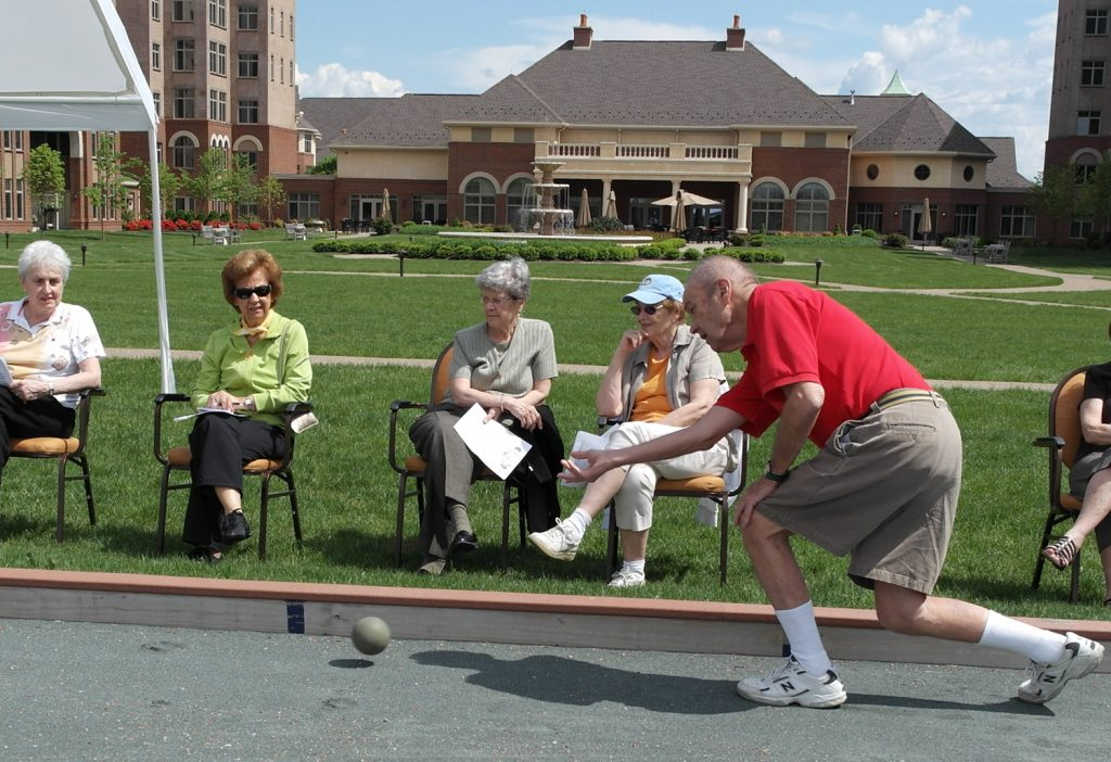 Providence Point's bocce court is a popular spot in the courtyard